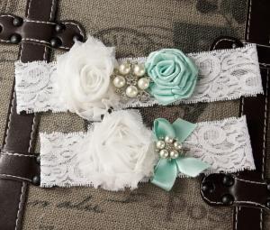 bridal garter set lace and flowers fairygarters viogemini 10